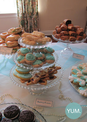 Breakfast at Tiffany themed bridal shower menu, food, finger food, party food, cupcakes,