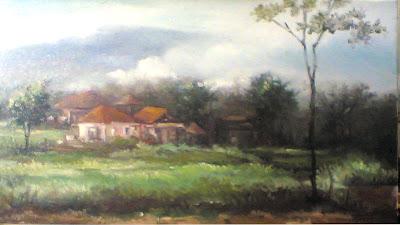 Lukisan pemandangan,lukisan pemandangan gunung,lukisan suasana desa,lukisan pemandangan gunung,lkisan bogor ,lukisan karya toto sukatma