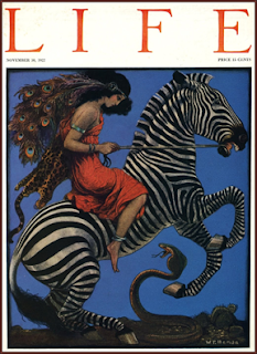 Art Nouveau Zebra and Girl Life Magazine Cover