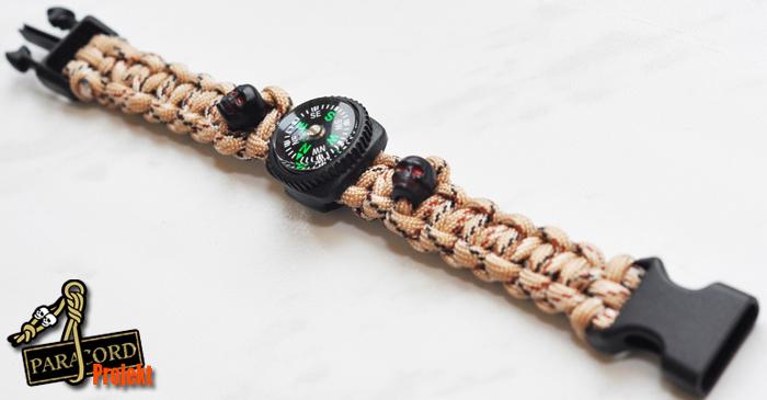 Bransoletka survivalowa z kompasem guzikowym