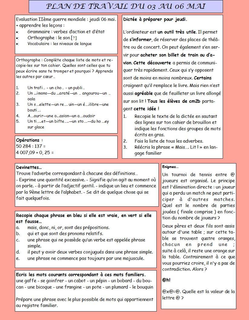 Cm2 b moliere villanueva plan de travail du 03 au 06 mai 2011 for Plan du travail