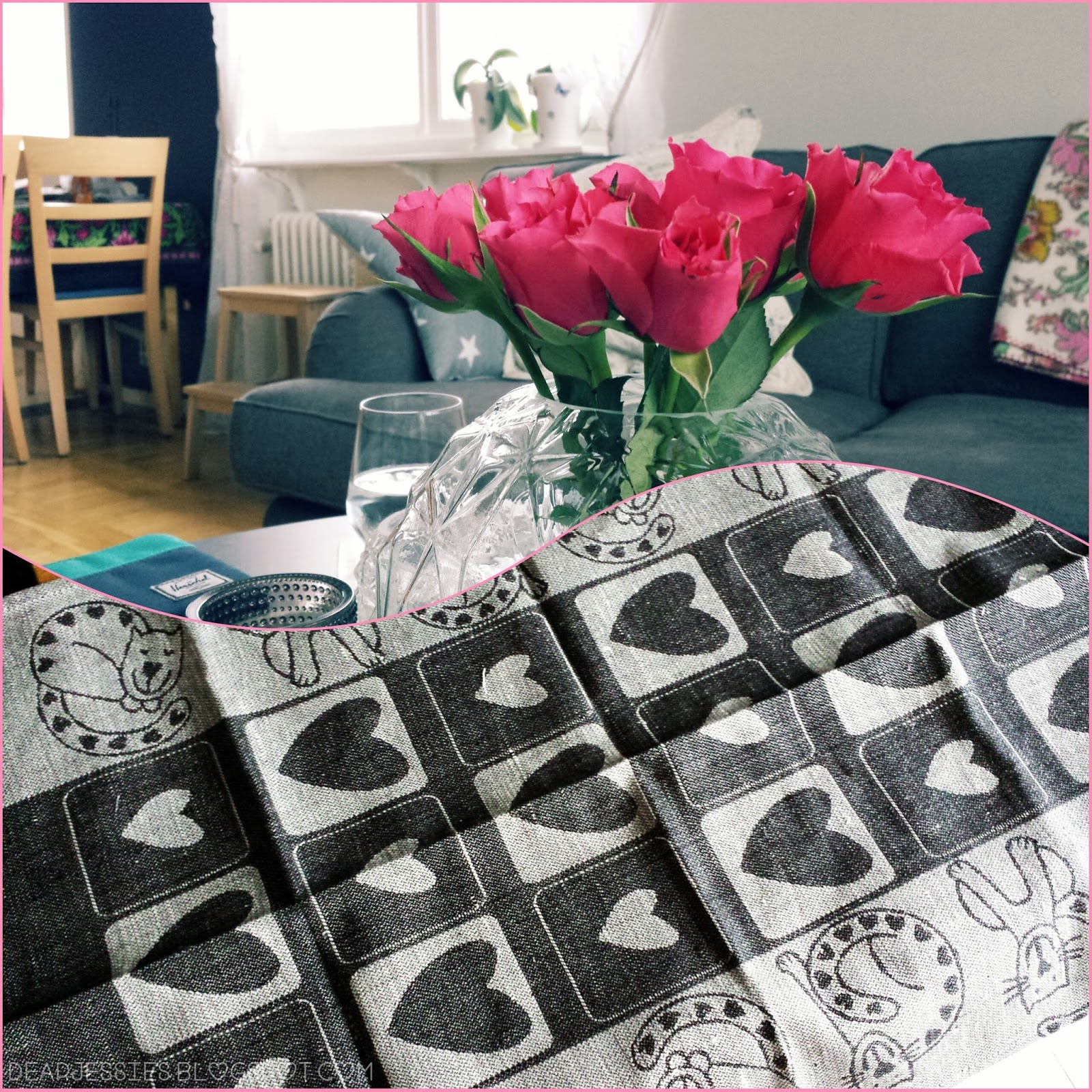 roses, interior, kitchen towel