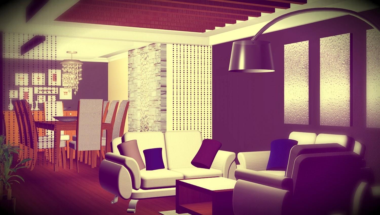 Dise o interior de departamento separador de espacios for Disenos de interiores en tablaroca
