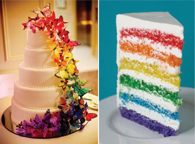 {Wedding Trends} : Over the Rainbow | Fashion Wedding Dress Elegant Rainbow Wedding Cake
