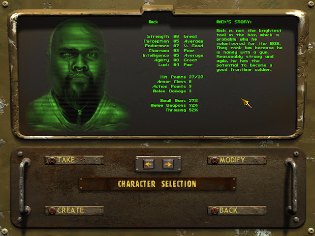 Fallout Tactics character selection screen