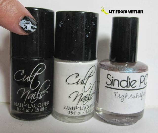 Bottle shot:  Cult Nails Nevermore, Cult Nails Tempest, and Sindie Pop Nightshifter.
