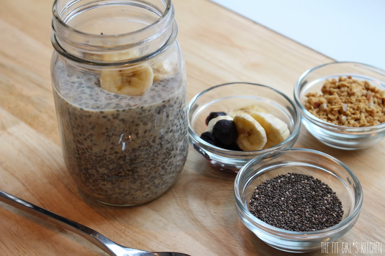 chia banana overnight oats in a jar
