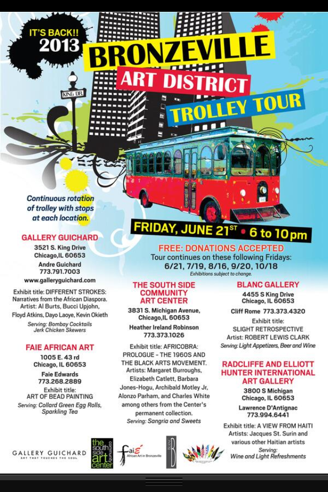 Bronzeville Art District Trolley Tour  2013 -Fridays 6/21, 7/19, 8/18, 9/20, 10/18 Gallery Guichard www.galleryguichard.com