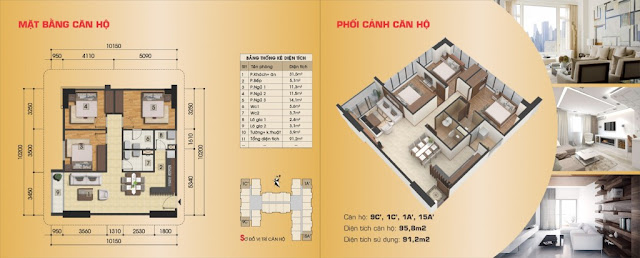 Thiết kế căn hộ 9C', 1C', 1A', 15A'