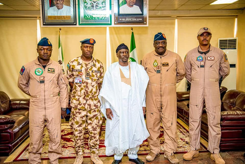 His Excellency, Ahmadu Umaru with Security Chiefs.