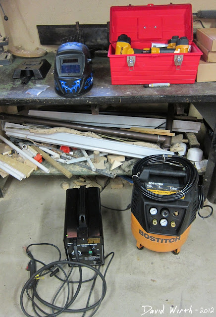 chicago electric welder, harbor freight bostitch compressor, nail gun