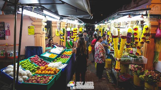 Flower garlands and fruit market at one corner - Little India Brickfields KL
