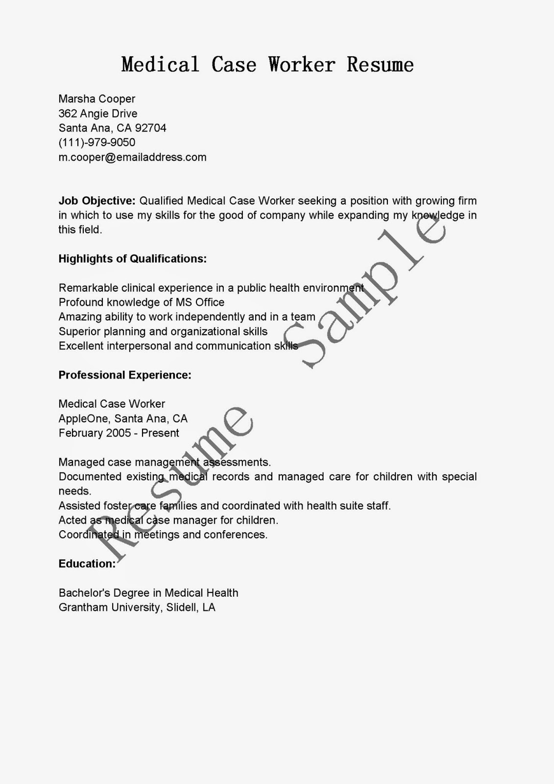 resume samples  medical case worker resume sample