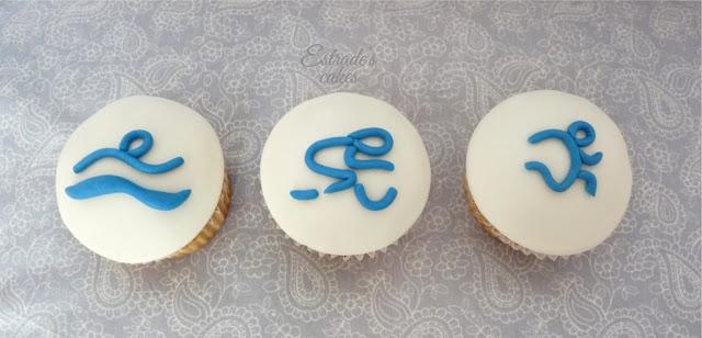 cupcakes de triatlon con fondant - 1