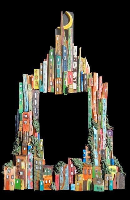 malowana ramka z drewna