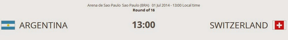 Argentina vs. Switzerland live 2014 FIFA WORLD CUP on 01 Jul 2014