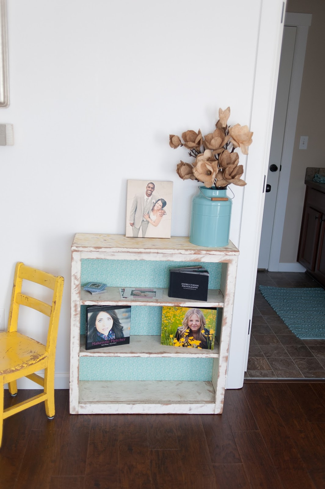 Vintage cabinet with fabric back