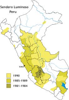 Carte de l'activité du Sentier Lumineux de 1981 à 1990