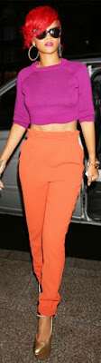 Rihanna, colour, train, crop top, orange pants, trousers and crop top, magenta crop top, Sophie David, Sophiestylish, fashion trends, fashion buzz, fashion brand, sexy Rihanna, bad girl Rihanna