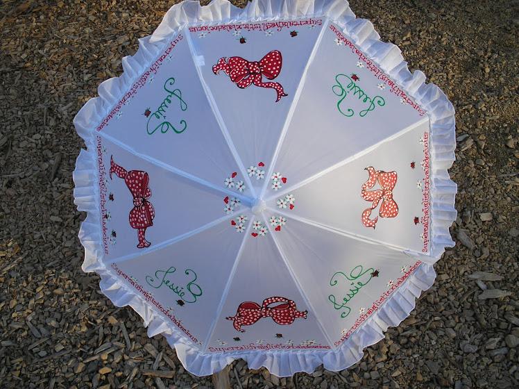 white parasol with red polka dot bows (m.p.)