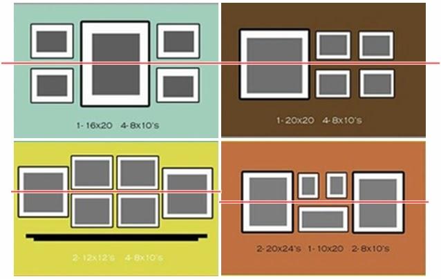 I d e a como colocar un conjunto de cuadros - Como colocar cuadros en un salon ...