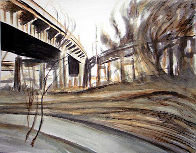 Industrial art, watercolor, ink, painting, drawing, Skyway, Buffalo, NY, cityscape, urban decay, pen and ink, reed pen, ink, india ink