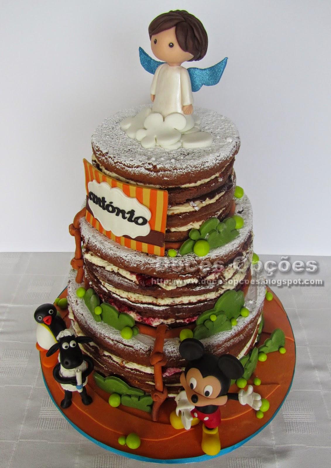 bolo decorado naked batismo