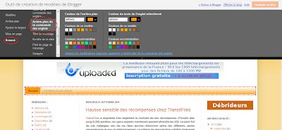 couleur onglet barre menu blogger