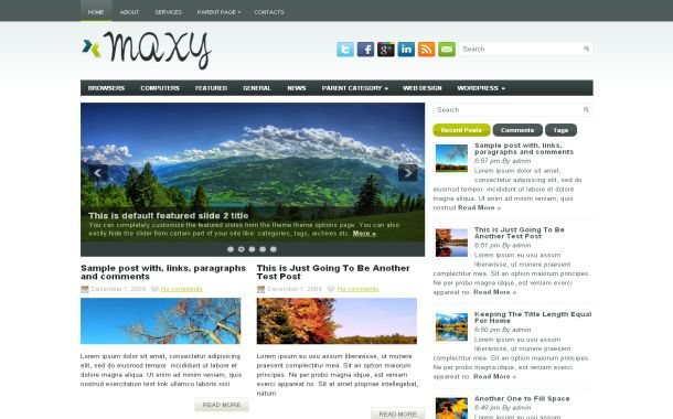Free Wordpress Clean White News Jquery Theme