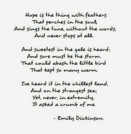 poetic techniques in hope is the thing with feathers a poem by emily dickinson Search poetry in motion by city: search poetry in motion by poem  'hope' is the thing with feathers emily dickinson 'hope' is the thing with feathers—.