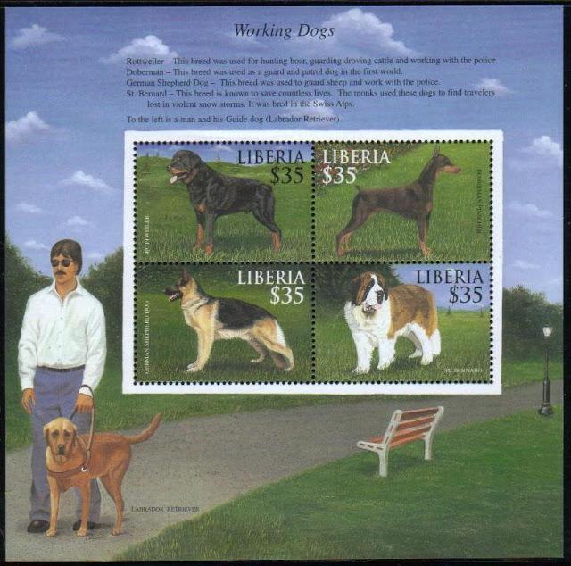 年度不明リベリア共和国 働く犬 ロットワイラー ドーベルマン シェパード セント・バーナード ラブラドール・レトリーバーの切手シート