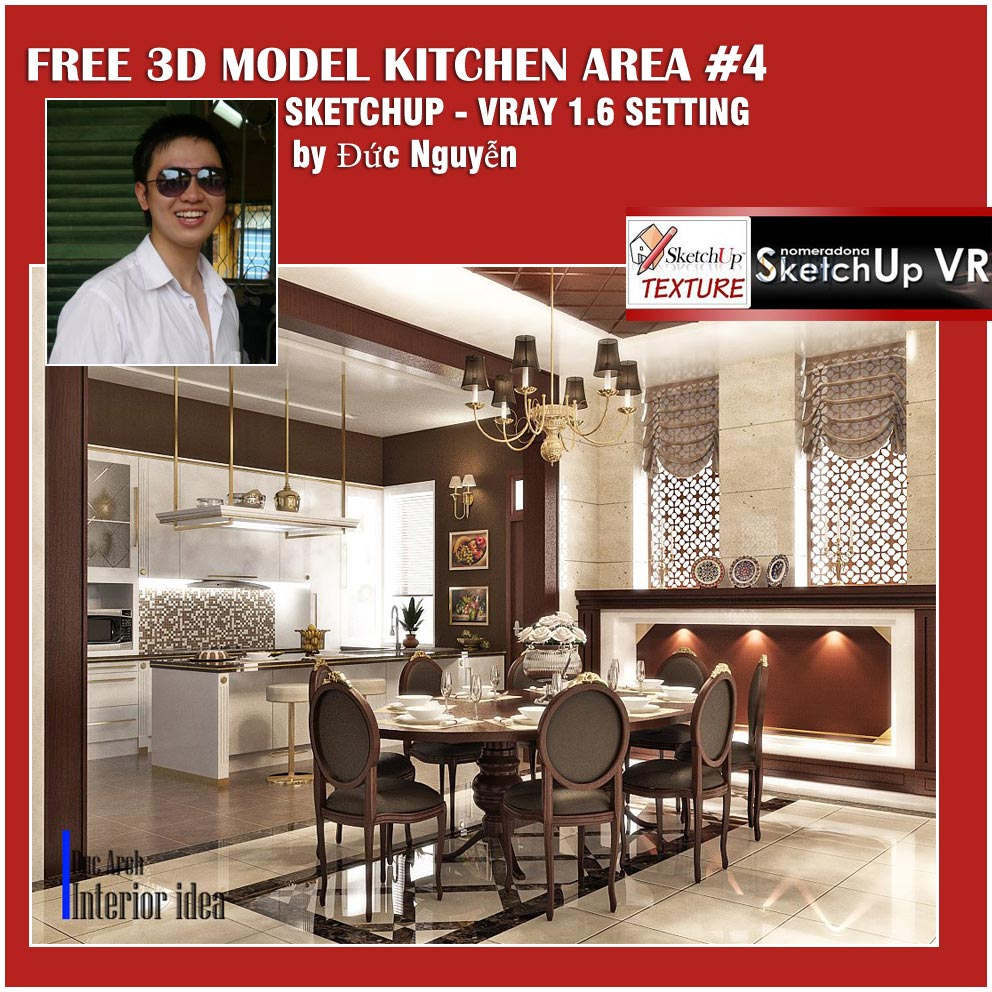 sketchup 3d model Kitchen area #4- cover_vray_render