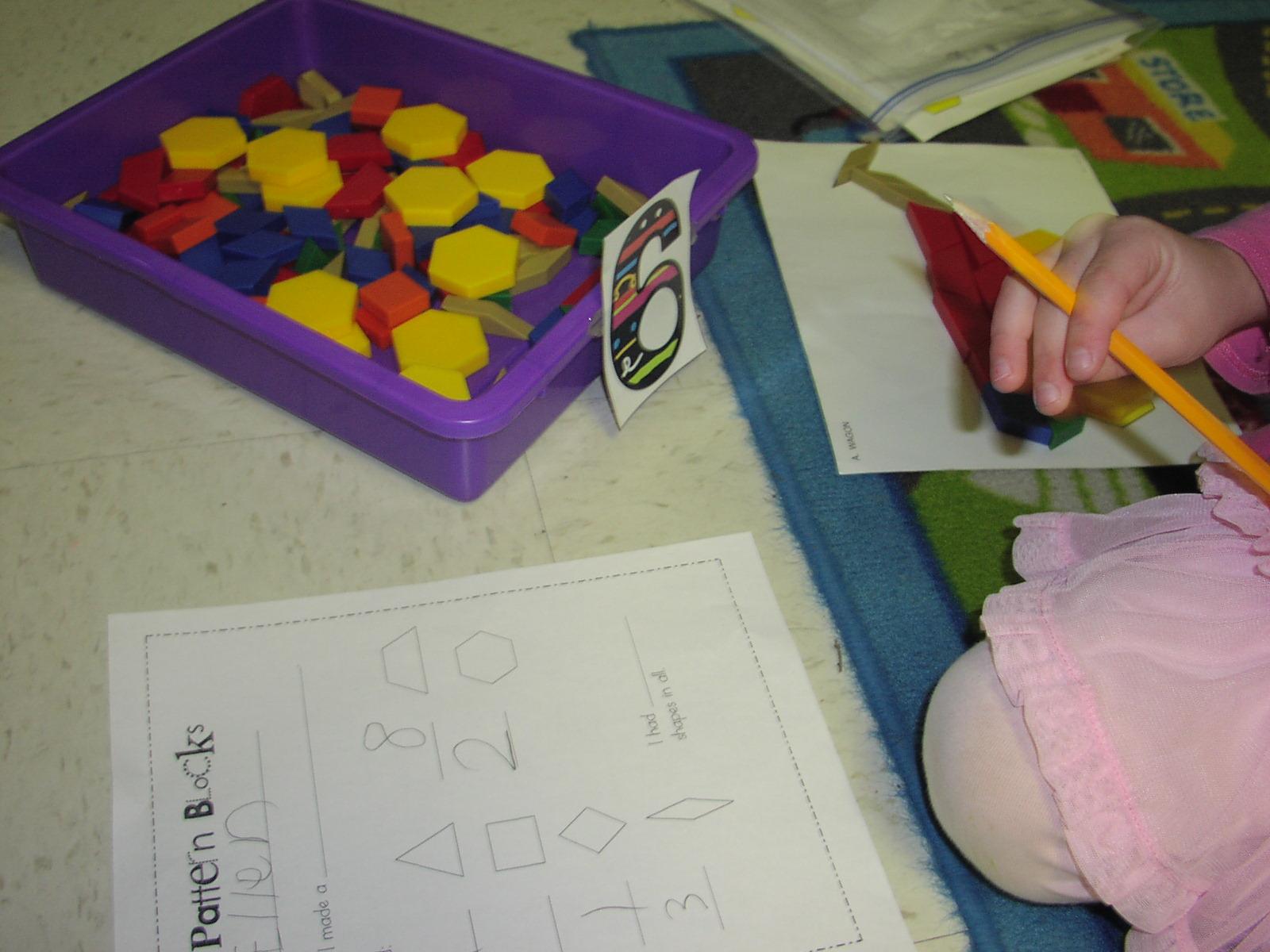 Keen on kindergarten december math stations for Everyday math pattern block template