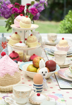 hand knitted cakes