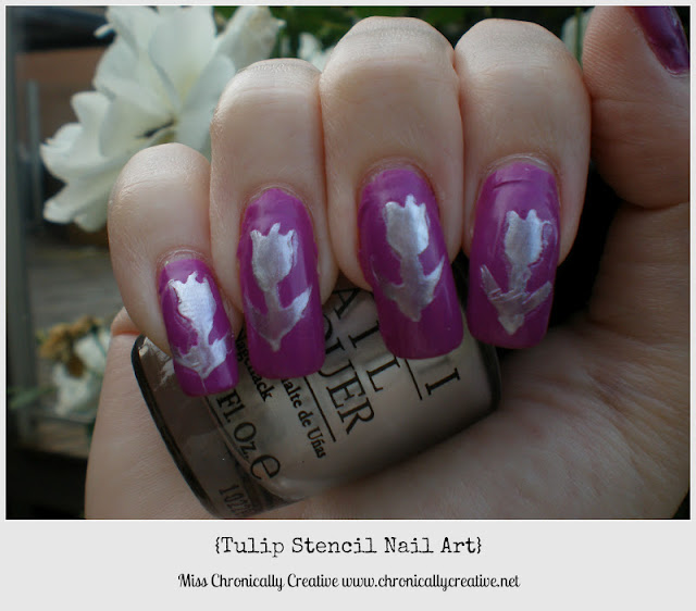 Chronically Creative: Tulip Stencil Nail Art {Using OPI