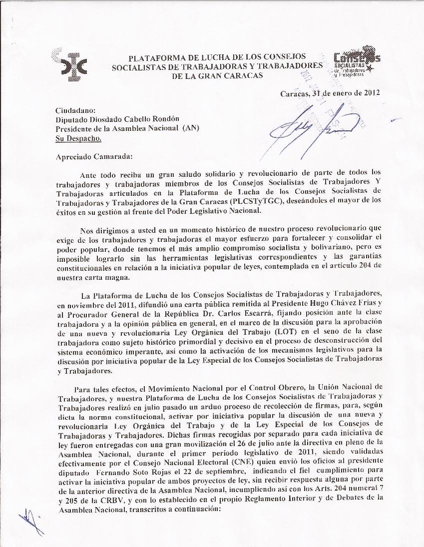 CARTA AL DIPUTADO DIOSDADO CABELLO | ROSO GRIMAU
