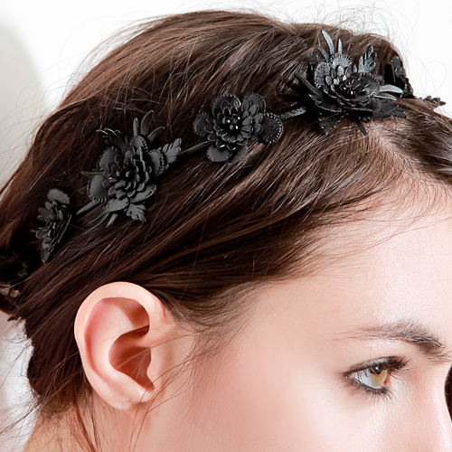 Vegan Leather Black Flower Crown
