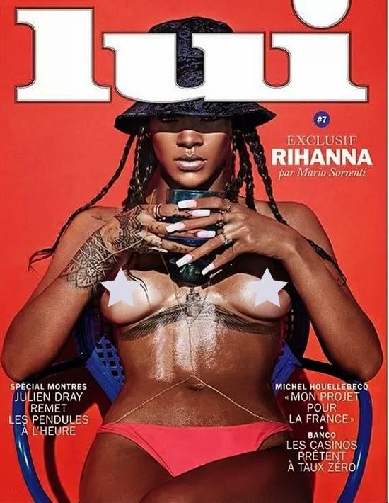 Cantora Rihanna aparece em capa de revista fazendo topless
