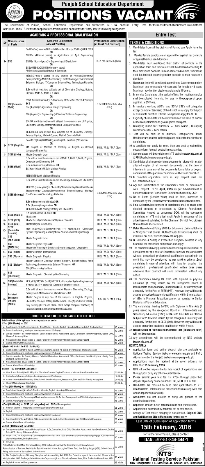 Educators Jobs 2016 in Punjab apply online NTS