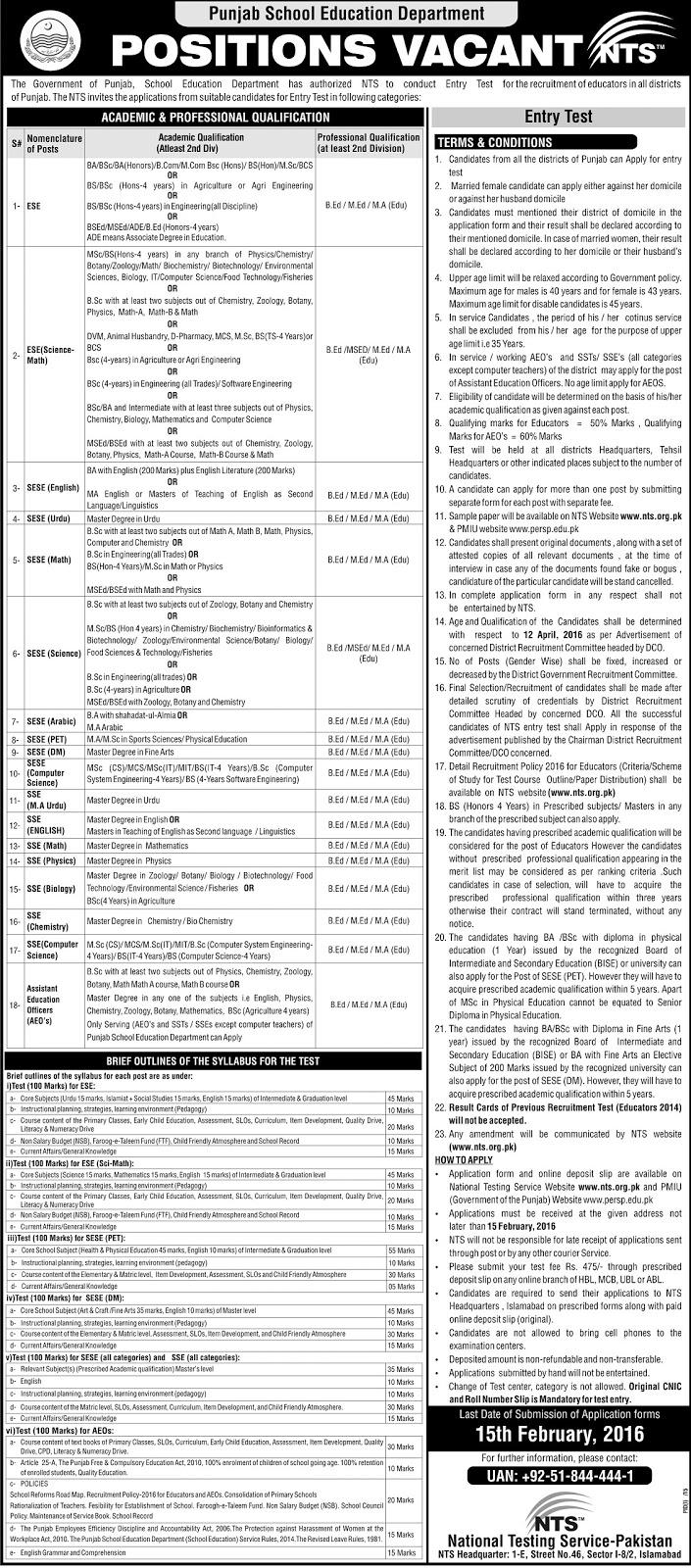 Educators Jobs 2016 in Punjab apply online NTS