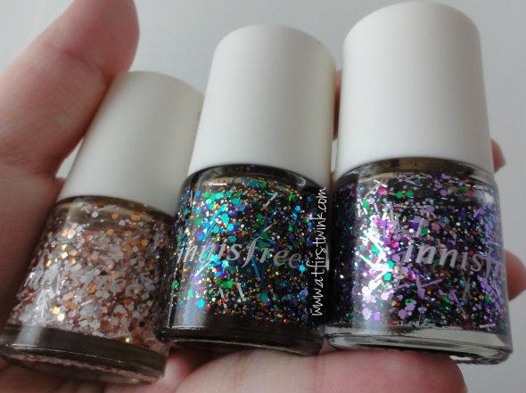 Innisfree nail polishes Star Sign Nail Collection no.105, no. 107, and no.108