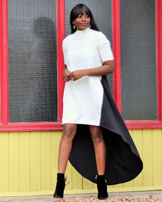 Romwe high-low dress and fall boots