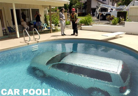 Van in a pool