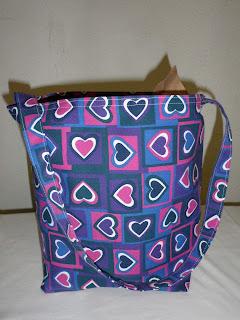 squares, hearts, tote, purple, bag