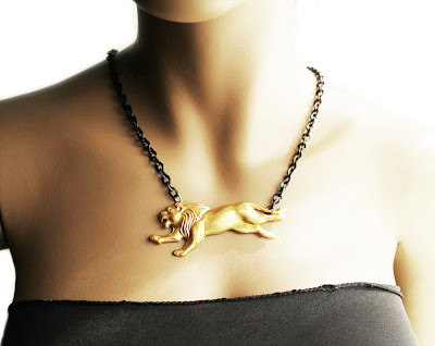 african brass lion necklace