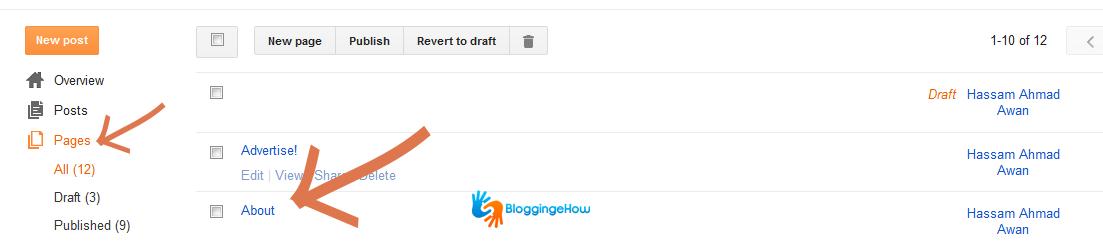 blogger page navigation