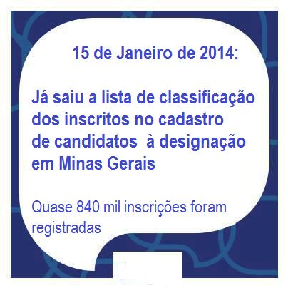SEE MG divulga lista de classificação de candidatos à designação 2014