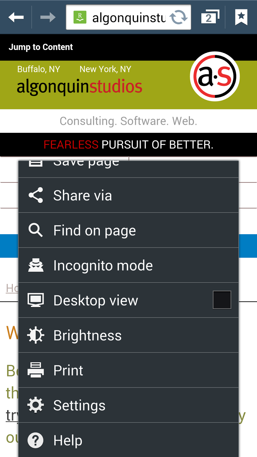 Android browser print dialog.