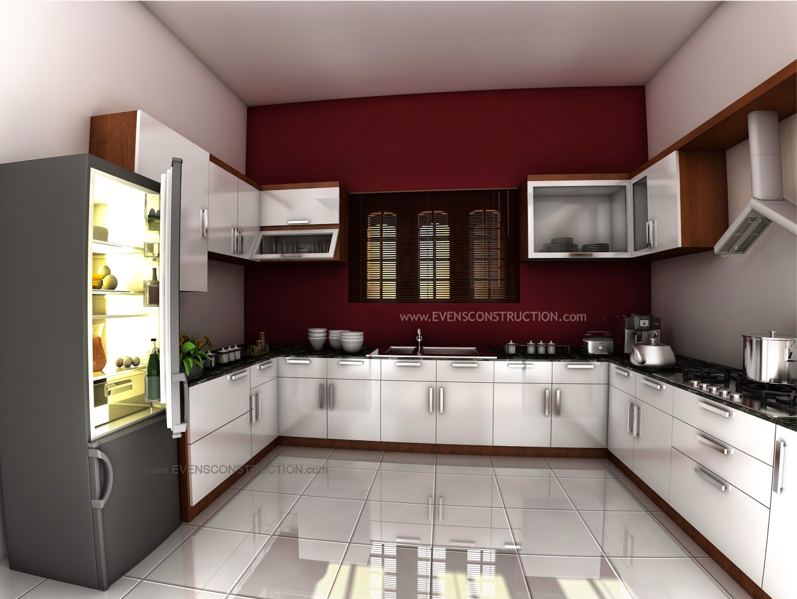 Evens construction pvt ltd beautiful kerala kitchen for Interior design for kitchen in kerala