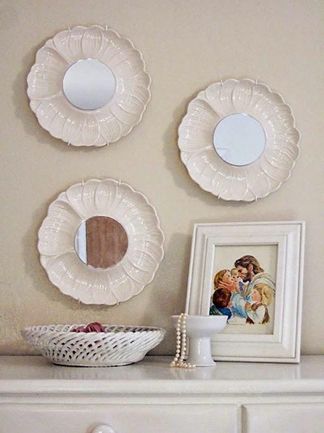 con platos pasados de moda puedes hacer bonitos espejos with hacer cosas reciclando